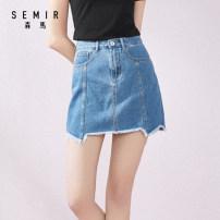 skirt Summer of 2019 150/58A/XS 155/62A/S 160/66A/M 165/70A/L 170/74A/XL 175/78A/XXL Denim light blue 0810 denim dark blue 0840 Short skirt Versatile High waist A-line skirt Solid color Type A 18-24 years old 19-009200130 More than 95% other Semir / SEMA cotton pocket Cotton 100%