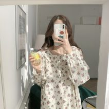 Nightdress Apricot Average size Simplicity Long sleeves Leisure home longuette summer Plants and flowers youth Crew neck cotton printing More than 95% other 200g and below Summer 2021 Other 100% Other 100%