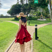 Dress Summer 2020 gules XS,S,M,L Middle-skirt singleton  Sleeveless commute V-neck middle-waisted Solid color Socket Cake skirt routine camisole 18-24 years old Type A Ruffle, open back, fold, lace, stitching, asymmetry 51% (inclusive) - 70% (inclusive) Chiffon