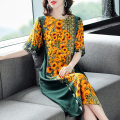 Dress Summer 2021 Decor L,XL,2XL,3XL,4XL Mid length dress singleton  elbow sleeve commute Crew neck Loose waist Decor Socket One pace skirt routine Others 40-49 years old Type H 3D 51% (inclusive) - 70% (inclusive) Silk and satin silk