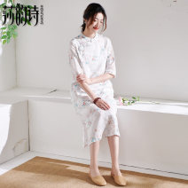 Dress Summer 2021 white M L Mid length dress singleton  elbow sleeve commute stand collar Loose waist Decor Socket Big swing routine 35-39 years old Shakespeare's verse literature Patchwork button print S7221 More than 95% hemp Ramie 100% Pure e-commerce (online only)