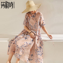 Dress Autumn of 2019 Average size Mid length dress singleton  Short sleeve commute stand collar Loose waist Decor Socket Big swing routine 25-29 years old Shakespeare's verse literature Pocket lace up print More than 95% hemp Ramie 100% Pure e-commerce (online only)
