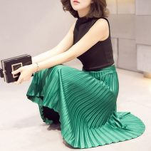 skirt Summer of 2018 S,M,L,XL,2XL commute High waist Pleated skirt Solid color Type A 51% (inclusive) - 70% (inclusive) Silk and satin nylon Zipper, fold Retro 121g / m ^ 2 (including) - 140g / m ^ 2 (including)