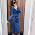 Dress Winter of 2019 Blue green black apricot Khaki 868 Chinese New Year red Average size Mid length dress singleton  Long sleeves commute V-neck High waist Solid color Socket other Others 18-24 years old Xianyixin Korean version YT10078004 More than 95% knitting other Other 100%