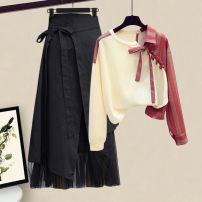 Fashion suit Spring 2021 S M L XL Off white top black skirt off white top + black skirt 18-25 years old Graceful and fragrant ER46H_ one trillion and six hundred and fourteen billion one hundred and thirty-two million eighty-four thousand six hundred and seven Other 100.0%