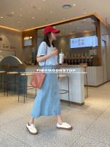 skirt Summer 2021 S,M,L light colour Short skirt commute Natural waist other other cotton Print, zipper