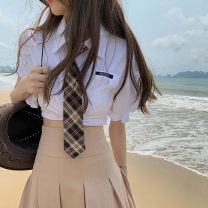 skirt Summer 2021 S. M, l, average size White shirt (with tie) 11118, khaki pleated skirt 11119 Short skirt High waist Pleated skirt Solid color Type A 18-24 years old 11118#11119