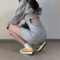 Dress Spring 2021 grey Average size Middle-skirt singleton  Long sleeves commute Crew neck High waist Socket other other 18-24 years old Type H Other / other Korean version 51% (inclusive) - 70% (inclusive) cotton