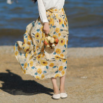 skirt Spring 2021 Average size yellow Mid length dress commute Natural waist A-line skirt Decor Type A Yy-bq21012 ramie sunflower skirt 71% (inclusive) - 80% (inclusive) Sanskrit with Hui tune hemp Pocket, tie, print literature