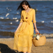 Dress Summer 2021 Yellow, sapphire, orange M, L Mid length dress singleton  elbow sleeve commute V-neck Loose waist Solid color Socket A-line skirt routine Others Type A Sanskrit with Hui tune literature Auricularia auricula, pocket, lace up Yy-q21039 lace collar ramie dress More than 95% hemp