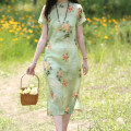 Dress Summer 2021 be so beautiful that the moon hides her face and the flowers blush for shame at sight of her M,L,XL Mid length dress singleton  Short sleeve commute stand collar Loose waist Decor Socket One pace skirt routine Others Type H Sanskrit with Hui tune Retro More than 95% hemp