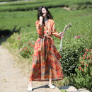 Dress Spring 2021 Tangerine S,M,L Mid length dress singleton  Long sleeves commute V-neck Loose waist Decor Socket A-line skirt routine Others Type A Sanskrit with Hui tune literature Pocket, tie, print More than 95% hemp