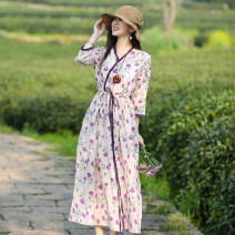 Dress Summer 2021 violet M, L Mid length dress singleton  three quarter sleeve commute V-neck Loose waist Decor Socket Big swing routine Others Type A Sanskrit with Hui tune literature Fungus, pocket, lace up, print Yy-q21060 ramie Purple Lace Collar Dress More than 95% hemp