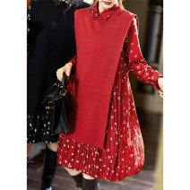 Dress Spring 2021 New year's red, dark night M,L,XL,2XL Middle-skirt Two piece set Long sleeves street square neck middle-waisted other Socket Pleated skirt routine Others 30-34 years old Type A Plain wood Lace up, printed PB313 More than 95% polyester fiber Europe and America