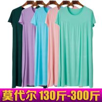 Nightdress Other / other Light purple, black, light green, pink, old green, Navy, maroon and royal blue 3XL (145-155kg), 4XL (155-200kg), 5XL (200-260kg) Simplicity Short sleeve Leisure home longuette summer Solid color Crew neck Bamboo charcoal fiber More than 95% Modal fabric 200g and below