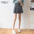skirt Spring 2021 XS S M L XL 2XL Grey black Short skirt commute High waist Pleated skirt Solid color Type A 25-29 years old other You Fei fold Korean version Pure e-commerce (online only)