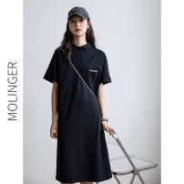 Dress Summer 2020 black XS,S,M,L,XL,2XL Mid length dress singleton  Short sleeve commute Polo collar Loose waist Solid color Single row two buttons A-line skirt routine Others Type A Korean version