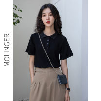 T-shirt black L,M,S Summer 2020 Short sleeve Polo collar Straight cylinder Regular routine commute other 96% and above Korean version other Solid color