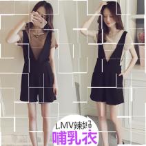 Nursing clothes Brown, apricot M,L,XL,2XL Other / other Socket summer Short sleeve Korean version Solid color Lift up cotton LRmi67kF