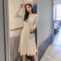 Dress Autumn 2020 Black apricot blue green Caramel bean Pink S M L Mid length dress singleton  Long sleeves commute Crew neck High waist Solid color Socket A-line skirt 18-24 years old Type A Jian Liting Korean version thread BK72 More than 95% knitting other Other 100%