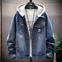 Jacket Wukeshidan Youth fashion Blue 6007-jk192 red 6007-jk191 light blue 6007-jk191 dark blue S M L XL 2XL 3XL 4XL 5XL routine Self cultivation Other leisure autumn WKSD-TT802 Cotton 78.2% regenerated cellulose 13.1% polyester 8.7% Long sleeves Wear out Lapel Japanese Retro Medium length Solid color