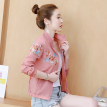 short coat Summer 2020 S,M,L,XL,2XL Yellow, white, pink Long sleeves routine Thin money singleton  easy commute routine stand collar zipper Plants and flowers 25-29 years old 96% and above Embroidery, chain, thread, three-dimensional decoration, zipper, splicing QFF5180336 other