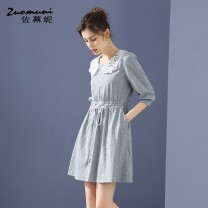 Dress Spring 2021 grey S M L XL XXL Short skirt singleton  three quarter sleeve commute Doll Collar Loose waist Solid color Socket puff sleeve 30-34 years old Type H Muzoni Ol style Bow cut-out embroidery hook cut-out pocket strap Z21CL12757 More than 95% cotton Cotton 100%