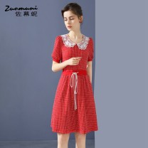 Dress Summer 2021 gules S M L XL XXL Middle-skirt singleton  Short sleeve commute Doll Collar Loose waist Solid color Socket puff sleeve 30-34 years old Type H Muzoni Ol style Bow cut-out fold hook flower cut-out pocket lace splicing three-dimensional decoration lace Z21XL12772 30% and below