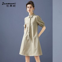 Dress Summer 2021 khaki S M L XL XXL Middle-skirt singleton  elbow sleeve commute Polo collar Loose waist Solid color Single breasted routine 30-34 years old Type H Muzoni Ol style Three dimensional decorative button split with pocket stitching Z21XL12828 More than 95% polyester fiber Polyester 100%