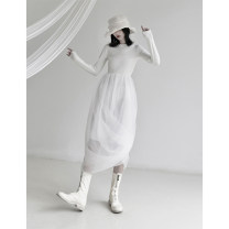 Dress Spring 2021 White, black S,M,L longuette singleton  Long sleeves commute Crew neck High waist Solid color Socket A-line skirt routine 25-29 years old Type A Splicing knitting polyester fiber