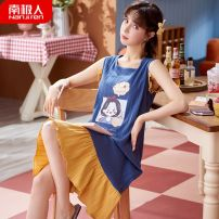 Nightdress NGGGN M, l, XL, XXL Sweet Sleeveless pajamas longuette summer Cartoon animation youth Crew neck cotton Mosaic decoration pure cotton ZX:308