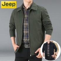 Jacket Jeep / Jeep Fashion City M,L,XL,2XL,3XL,4XL routine easy Other leisure spring Cotton 100% Long sleeves Wear out Lapel Military brigade of tooling middle age routine Zipper placket 2021 Straight hem washing Loose cuff Solid color More than two bags) Bag digging with open cut thread cotton