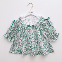 Dress In stock, scheduled 7-15 days delivery female Other / other 80cm,90cm,100cm,110cm,120cm,70cm Cotton 80% other 20% spring and autumn Long sleeves Dot cotton Lotus leaf edge 3 months, 12 months, 6 months, 9 months, 18 months, 2 years old, 3 years old, 4 years old, 5 years old, 6 years old