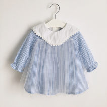 Dress Sky blue, in stock, sky blue, reservation female Other / other 70cm, 80cm, 90cm, 100cm, 110cm, 120cm, 130cm Cotton 80% other 20% spring and autumn Korean version Long sleeves lattice cotton Pleats 12 months, 18 months, 2 years, 3 years old
