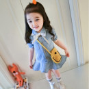 Dress female Other / other Other 100% summer Korean version Short sleeve Solid color Denim Denim skirt 12 months, 18 months, 2 years old, 3 years old, 4 years old, 5 years old, 6 years old