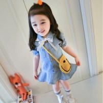 Dress female Other / other Other 100% summer Korean version Short sleeve Solid color Denim Denim skirt 12 months, 18 months, 2 years old, 3 years old, 4 years old, 5 years old, 6 years old