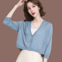 Wool knitwear Summer 2020 S,M,L,XL,2XL,3XL Black, white, apricot, blue, pink three quarter sleeve singleton  Cardigan silk More than 95% Super short Thin money commute easy V-neck routine Solid color Single breasted Korean version