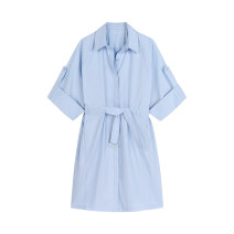Dress Summer 2021 sky blue S,M,L,XL Mid length dress singleton  Short sleeve square neck Solid color Single breasted routine Type H Bandage 51% (inclusive) - 70% (inclusive)