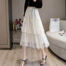 skirt Spring 2021 S M L XL Black apricot Mid length dress commute High waist Cake skirt Solid color Type A 18-24 years old More than 95% Lace Zhifu other Pleated embroidery mesh stitching lace Korean version Other 100% Pure e-commerce (online only)