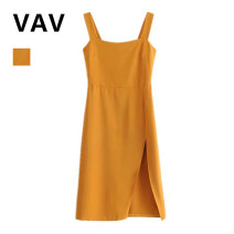 Dress Summer of 2019 yellow S,M,L Mid length dress singleton  Sleeveless High waist Solid color Socket camisole 31% (inclusive) - 50% (inclusive) other