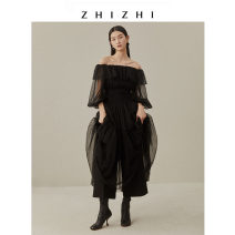 Dress Winter 2020 Daihei maple leaf red withered Pink 2/S 4/M 6/L Mid length dress singleton  Long sleeves commute One word collar High waist Solid color Socket Cake skirt bishop sleeve 25-29 years old Type A Zhizhi (clothing) Simplicity ZZ20WL5044 More than 95% nylon Polyamide fiber (nylon) 100%