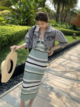 Dress Summer 2021 wathet S,M,L Mid length dress singleton  Sleeveless commute other High waist stripe Socket One pace skirt routine 25-29 years old Ol style Splicing 81% (inclusive) - 90% (inclusive) other polyester fiber