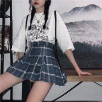 skirt Summer 2021 S,M,L Haze blue Short skirt Sweet High waist Pleated skirt lattice Type A 81% (inclusive) - 90% (inclusive) brocade college