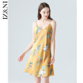 Nightdress IIZZINI Yellow sunflower nightgown with suspenders S (spot), m (spot), l (spot) luxurious camisole Leisure home Short skirt summer Plants and flowers youth V-neck Iced silk printing More than 95% silk