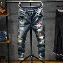 Jeans Youth fashion Others 28,29,30,31,32,33,34,36,38 White, black, light blue, white without holes, 1661 embroidery light blue, 1669 embroidery dark blue, 9068 black Super high elasticity trousers Travel? Cotton 98% polyurethane elastic fiber (spandex) 2% middle-waisted 2020