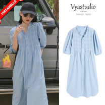 Dress White, blue, yellow M,L,XL,XXL Korean version Short sleeve have more cash than can be accounted for summer V-neck Solid color Pure cotton (95% and above)