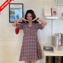 Dress VSETAMELLE violet M,L,XL,XXL Korean version Short sleeve Medium length summer Lapel lattice polyester fiber VS-98631