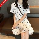 Dress VSETAMELLE White [pregnant women's money], white [lactation money] M,L,XL,XXL Korean version Short sleeve Medium length summer Crew neck Dot polyester fiber VS-20310