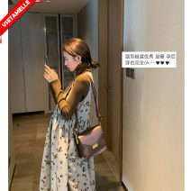 suit VSETAMELLE One piece vest skirt, base coat + vest skirt (2-piece set) M,L,XL,XXL Korean version Long sleeve + skirt spring and autumn routine Broken flowers VS-6501 nylon
