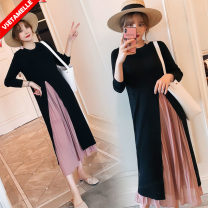 Dress VSETAMELLE M,L,XL,XXL,XXXL Korean version Long sleeves Medium length autumn Crew neck Solid color